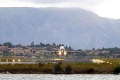 Dcollage face  la mer (MarySloA) Tags: plane island airport europe greece corfu kerkyra takeoff grce avion piste le corfou dcollage aroport kanoni monastredevlachernes