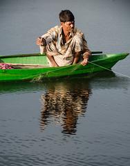 The Fisherman (akashdas43) Tags: wood shadow sky people man nature water boat fisherman nikon d7000