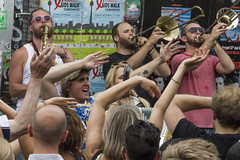 Lemon Bucket Orchestra plays Pedestrian Sunday (jer1961) Tags: toronto horns wave saxaphone trombone kensingtonmarket waving brass pedestriansunday yellowbucketorchestra
