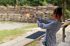 her first time shooting (Brian M Hale) Tags: two ma outside 22 shoot outdoor massachusetts brian flash target guns shooting practice revolver mass ammo range twenty hale muzzle firing caliber twentytwo muzzleflash brianhalephoto
