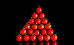 Made in Tomato (Pixeled79) Tags: life red stilllife food mountain plant green art nature crimson fruit photoshop tomato cherry soup idea photo still nikon triangle pyramid earth live paste creative mother graduation picture seed vegetable row symmetry line made eat creation numbers planet environment grocery clone six brand billiard eco economy copy snooker perfection d300 pixeled79