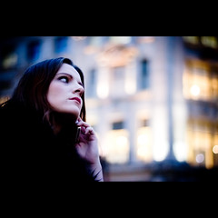 ~ Dream on Dreams II (Ordinary_Folk) Tags: lighting light woman london girl dark 50mm md minolta circus f14 14 oxford adapter onthephone iphone rokkor beautifulbokeh nex5 sonynex