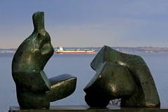 Modern aRt at the sea (Jens Rost) Tags: sea coast louisiana modernart modernekunst hav freighter oresund resund kyst bronzesculpture oeresund bronzeskulptur tankskib 120403lousiana1275b