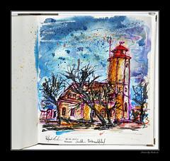Leuchtturm Westermarkelsdorf - Fehmarn (rafaelmucha) Tags: travel lighthouse architecture pen ink watercolor notebook sketch sketchbook insel fehmarn copic aquarell fabercastell blindbamd leuchtture