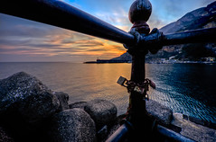 Love padlocks in Amalfi (Photos On The Road) Tags: sunset sea sky italy seascape love water silhouette metal horizontal outside outdoors evening togetherness coast europa europe mediterranean mediterraneo italia tramonto mare campania amalficoast sundown symbol outdoor dusk lock unity rusty nobody nopeople romance southern relationship cielo hanging coastline handrail concept tradition railing eternity padlock seashore amore hdr amalfi salerno connection paesaggio controluce padlocks ferro luoghi simbolo lucchetti inferriata outdoorshots costieraamalfitana meridionale elaborazioni lucchetto corrimano orizzontale concetti outdoorshot nessuni rimghiera lpromantic