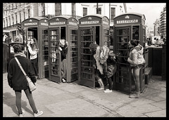 The Strand (davemason) Tags: street london mono strangers tourists thestrand phoneboxes