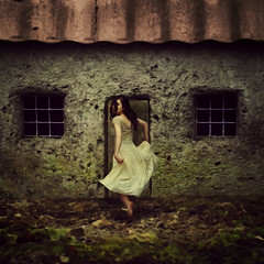 the house in the middle of nowhere (brookeshaden) Tags: house girl miniature ominous cottage surreal running story mysterious tinroof storytelling fineartphotography fairytalephotography brookeshaden whimsicalphotography