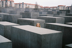 MEMORIAL TO THE MURDERED JEWS OF EUROPE (davies.thom) Tags: berlin film public smile delete10 delete9 germany delete5 delete2 holocaust delete6 delete7 candid deleted4 streetphotography delete8 delete3 delete tourist cheesy nikonf3 petereisenman stelae jewishmemorial 50mmlens delte burohappold thomdavies dustonnegative