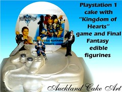 PLAYSTATION 1 CAKE with final fantasy (Anita (Auckland Cake Art)) Tags: birthday new wedding party baby art cakes cake island one stag chocolate games auckland zealand samoa finalfantasy playstation pacifica samoan hens fondant tongan sugarpaste cricut kingdomofhearts aucklandcakeart