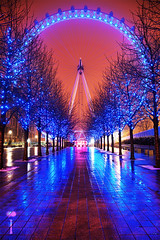 The London Iris (Romain Matte Photography) Tags: lighting city uk blue trees winter red 2 england sky urban snow london eye colors night canon photography lights colorful cityscape nightscape britain snowy mark united great kingdom ii londres 5d canon5d nuit dri hdr blending markii exposures mattei mark2 canon5dmark2 canon5dmarkii