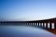 Cool Blue on a Still Day - Tay Rail Bridge Dundee Scotland (Magdalen Green Photography) Tags: longexposure scotland riverside rivertay dundee scottish tranquil tayrailbridge 5897 scottishbridges iaingordon dundeewestend magdalengreenphotography coolblueonastillday