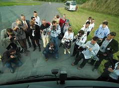 Pressefotografen vor Travego Active Brake Assist Demo