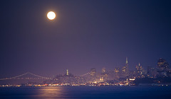 Supermoon (jrodmanjr) Tags: sf sanfrancisco california urban bw moon white black skyline night sailboat bay pyramid coittower baybridge transamerica telegraphhill lunar sfist supermoon