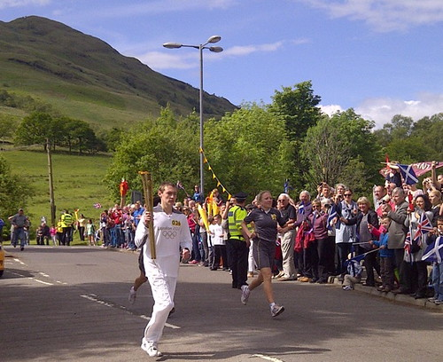 Myles Clark carries Olympic Torch in Tarbet