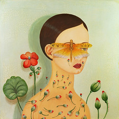 New painting for my upcomign show in Miami, FL (Elsita (Elsa Mora)) Tags: blue woman flower green nature face painting insect colorful handmade poetic buds elsita rosed elsamora feminaplantarum