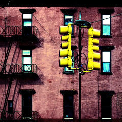 transconfiguration (fotobananas) Tags: street nyc urban newyork abstract trafficlights yellow architecture square redbrick s95 fotobananas