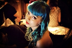 Eva (GordonsPictures) Tags: portrait woman color classic girl lowlight curls fringe retro bangs bluehair nosepiercing greenhair lippiercing multicoloredhair