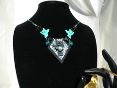 """Turquoise & Black """"I Love You"""" Necklace (SomewhatOdd) Tags: flowers original art beautiful sign cane silver hearts cord gold beads colorful hand heart bright symbol handmade mixedmedia unique brooch jewelry kaleidoscope pearls fimo clay gift bracelet deaf sculpey iloveyou earrings cheerful signlanguage pendant pardo glassbeads asl americansignlanguage hearingimpaired premo handsign wirewrapped polyclay swarovskicrystals mokumegane micashift cabochons oneofkind deafcommunity originaldesigns kaleidoscopecane magneticclasp filigreebeads coloredwire jewelry polymerclaynecklace handbraidedcord veldenaladson asl"""