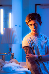 Stuart (TGKW) Tags: blue boy portrait people man lamp night hair lights hotel mirror arm sink glasgow room towel stuart tattoos nightlife sleeve parmley 0967 citizenm