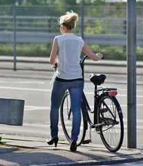 People on streets - Girl with bicycle (osto) Tags: people bike bicycle denmark europa europe sony bicicleta zealand bici dslr scandinavia danmark velo fahrrad vlo rower cykel a300 sjlland  osto alpha300 osto may2012 fietssykkel