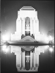 Coronation decorations; illuminations of Sydney, Anzac War Memorial, Hyde Park, Sydney, 1937 / photographer, Sam Hood
