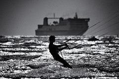 kitesurfer-off-dollymount (zip po) Tags: sea blackandwhite dublin waves ship kitesurfing clontarf