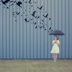 They all flew west (Morphicx) Tags: blue beautiful birds umbrella dress creative jo blond canon5d canon50f14 create crows johanna deventer thinkdifferent flyingaway 60sdress mintygreen mintgreendress morphicx pauladanielse