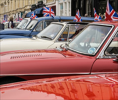 Red, White & Blue (canong2fan) Tags: uk blue red england white reflection june vintage europe cloudy jubilee royal eu montpellier gloucestershire diamond celebration morrisminor dull cheltenham sportscar 2012 unionjacks etypejaguar canong1x montpellierday