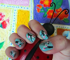 Flores de Cereja (Nail Glam) Tags: flores flower art japan cherry blossom nail flor polish nails ladybug japão cereja unhas joaninha unha artística