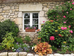 (LILI 296...) Tags: france composition pierre brique maison fenêtre gers volet laromieu jardinière canonpowershotg12 jardindecoursiana