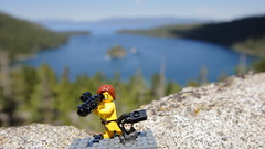 the team at work (silkway) Tags: california camera blue boy lake tree water rock stone forest canon pose landscape toy 50mm monkey bay video media lego guess tahoe gear plate mini story jungle videocamera figure gesture emerald ef emeraldbay f12 minifigure jungleboy