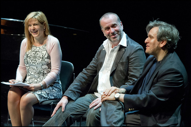 Penny Smith interviewing David McVicar and Antonio Pappano at an ROH Insights session © Sim Canetty-Clarke/ROH 2012