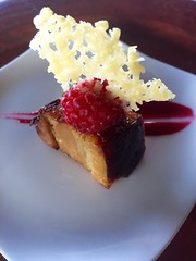 Paws Up Amuse Bouche Pork Belly (Nancy D. Brown) Tags: raspberry porkbelly amusebouche pawsup instagram pomprestaurant