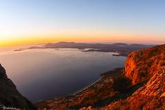 First Sunlight (Bill-Metallinos) Tags: light red sea mountain seascape sunrise island twilight ray mount greece sunrays corfu ionian mediteranean kerkira pantokrator barbati metallinos