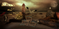 Something Fishy Going On (brian_stoddart) Tags: sea sky moon lighthouse coast surreal ps fantasy talacre eigg photoshopmasterpiece