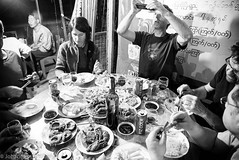 Evening dinner (JohannesLundberg) Tags: people food expedition monochrome dinner table person evening burma peoples myanmar mm persons manuela caver kayah myanmarburma speleologist bawlakhe philbence marcboreau romanhapka