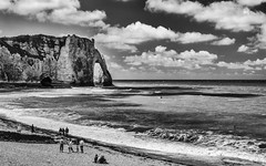 Etretat (A_Pattyn) Tags: sea blackandwhite bw france beach monochrome strand landscape zwartwit bretagne zee normandie frankrijk etretat landschap normandi nikond7000