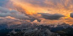 Fire in the sky over Nuvolua range (pDOTeter) Tags: sunset italy panorama colorful it dolomites cinque torri itali passo veneto falzarego cortinadampezzo cinquetorri lagazuoi 500px passofalzarego ifttt nuvolua