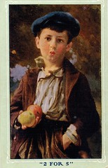 Antique Postcard - Boy in a Hat (Brynn Thorssen) Tags: poverty boy portrait apple hat vintage painting post antique framed postcard poor young picture ears dirty jacket card swap apples tween pocket sell urchin trade selling rosycheeks whistling whiteshirt rosycheeked bluehat disadvantaged