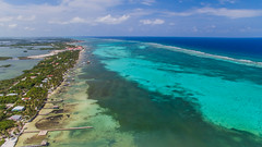 Beautiful Belize (jon.scrimgeour) Tags: vacation holiday beach water sunshine island pier aqua waves sailing peace view belize jetty rustic tranquility boating shack colourful ambergriscaye reef uav tropics aerialphotography pilot seagrass centralamerica cayecaulker clearwater islandlife drone whalf phantom3 dji inspire1