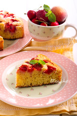 Fruit and berry cake, sliced, (manyakotic) Tags: baked berry breakfast brunch cake cornmeal dessert food fruit homemade pastry pie raspberry red slice snack strawberry sweet treat