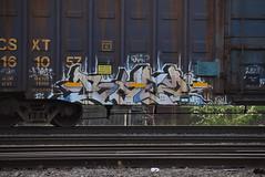 BAEZ (TheGraffitiHunters) Tags: street pink blue white black art car train graffiti colorful paint box spray boxcar freight benched abez benching teacks