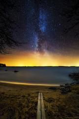 Galactic Shore (phyytinen) Tags: light lake beach night finland way stars shore astrophotography pollution milky lappajrvi