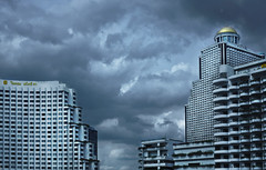 Shades of rainy grey (Antoine - Bkk) Tags: sky urban rain skyline architecture clouds thailand grey hotel photo raw bangkok shangrila affinity darktable