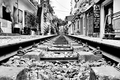Perspective (Melvin Yue) Tags: street city travel bw colors train 35mm blackwhite asia track vietnamese cityscape colours pov streetphotography rail railway wanderlust traveller vietnam explore fujifilm lonelyplanet blacknwhite bnw photooftheday picoftheday natgeo travelphotography travelgram x100s