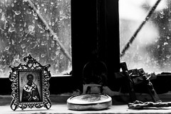 Saint Nicholas    (Georgina ) Tags: saintnicholas stnick crucifixes dirtywindows shop monochrome blackandwhite religious athens greece