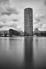 Westhafen Tower II (Dirk Koller) Tags: frankfurt main westhafen westhafentower frankfurtammain langzeitbelichtung mainufer friedensbrcke gerippte gutleutviertel graufilter