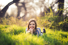 Jenna Sitter (David Parks - davidparksphotography.com) Tags: sunset sun david oklahoma senior girl smile grass set happy nikon parks okc edmond lay d700