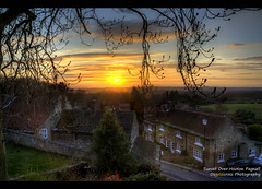 Sunset Over Hooton Pagnall (Osgoldcross Photography) Tags: road trees houses light sunset shadow sky sun sunlight field grass stone clouds landscape evening nikon raw village dusk willow vista bushes hdr cottages 3xp photomatix handheldhdr hootonpagnell tamron18270mm nikond5100
