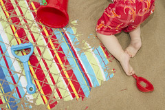 Colorful Beach Detail (Alex Bramwell) Tags: summer vacation baby holiday abstract beach grancanaria bucket spain sand colorful ben background sandy towel crawling canaryislands spade laspalmas canteras